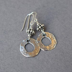 Handmade Sterling Silver Round Rustic Earrings