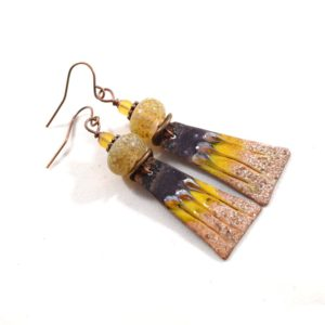 Artisan Enameled Earrings in Gold and Brown