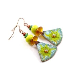 Sunburst Enameled Earrings in Turquoise and Golden Yellow
