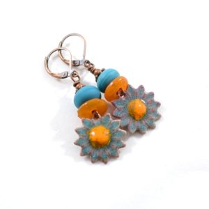 Enameled Sunflower Orange and Turquoise Earrings