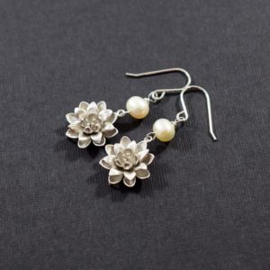 Handmade Flower and Pearl Earrings, Sterling Silver Earrings