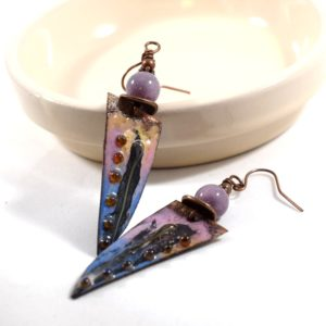 Incredible Handmade Blue and Pink Copper Earrings