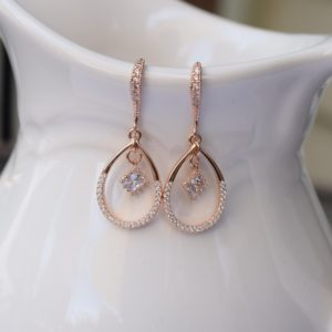 Teardrop Rose Gold With CZ Earrings