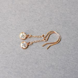 Cubic Zirconia Rose Gold Earrings, Rose Gold Filled Earrings
