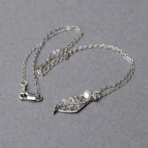 Oxidized Sterling Silver Leaf Necklace, Leaf and Pearl Necklace, Freshwater Pearl Necklace