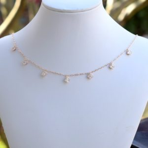 Diamond Cubic Zirconia Choker, Rose Gold Choker, Crystal Choker
