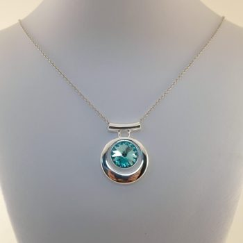Turquoise and Silver Swarovski Rivoli Necklace