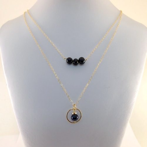 Double Black Pearl Necklace 14K Gold Filled