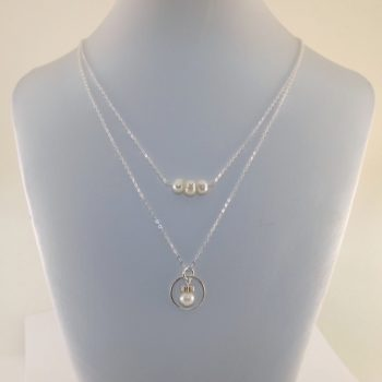Sterling Silver and White Freshwater Pearl Double Necklace