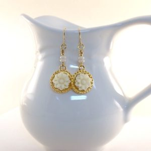 White Flower With Gold Earrings