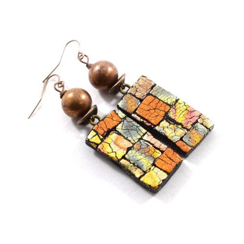 Textured Metallic Copper Polymer Clay Earrings