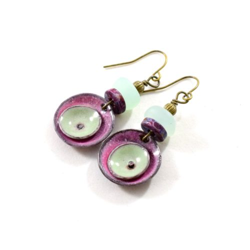 Raspberry Double Poppy Circle Enameled Earrings