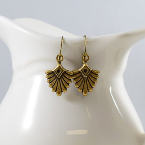 Antique Brass Fan Earrings