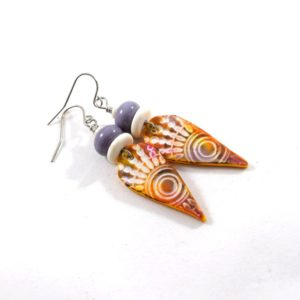 Light Weight Orange and Purple Polymer Clay Earrings