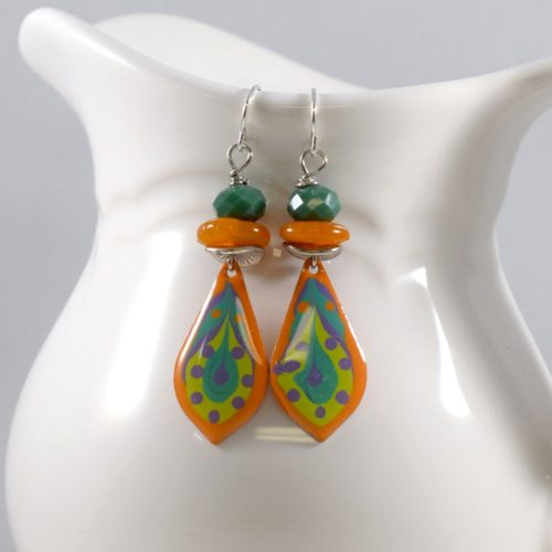Orange and Turquoise Paint and Resin Earrings