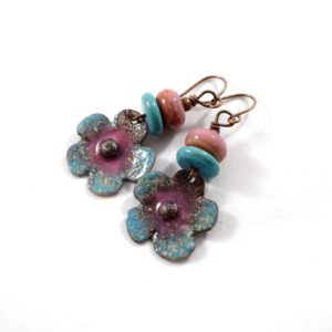 Flower Earrings In Turquoise and Pink