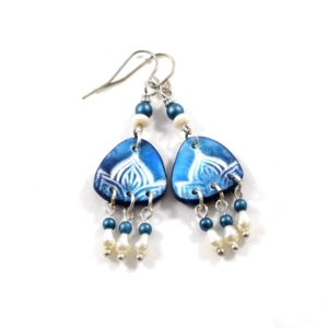 royal blue and white chandelier earrings