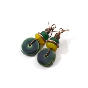 Kazuri Green Washer Earrings