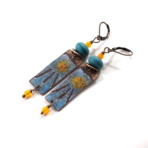 Sunshine Blue Copper Boho Chic Earrings