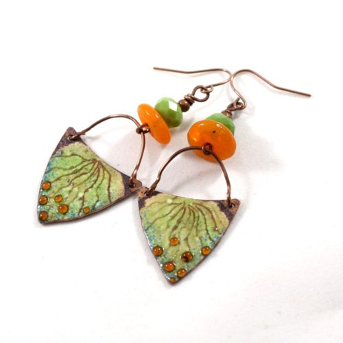 Green Volcano Earrings With Orange and Copper