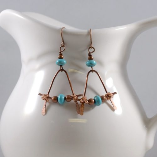 Bent Copper and Turquoise Boho Earrings