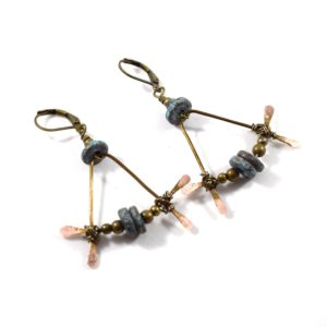 Patina Turquoise Bent Bronze Boho Chic Earrings