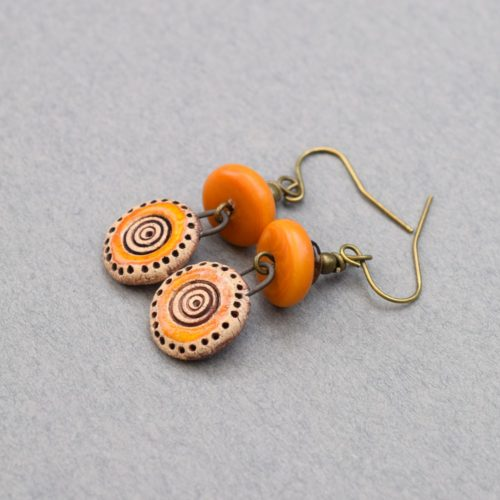 Orange Drop Stoneware Earrings