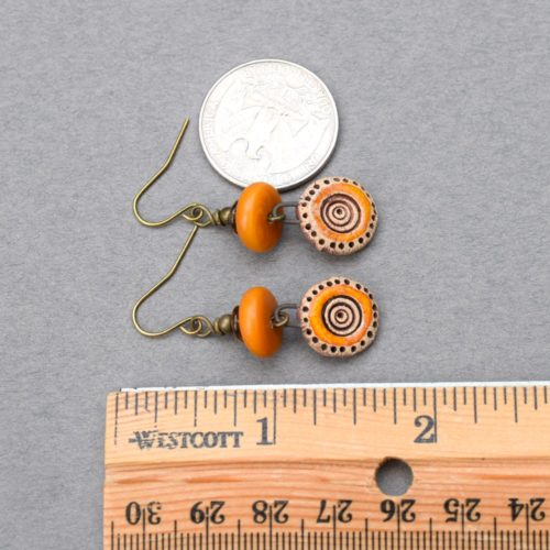 Round Orange Drop Stoneware Earrings