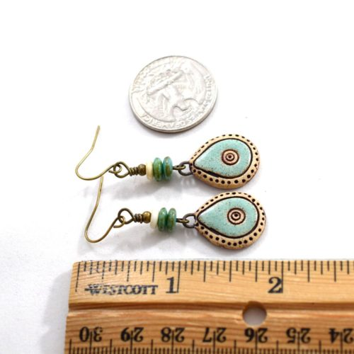 Teardrop Turquoise Drop Stoneware Earrings