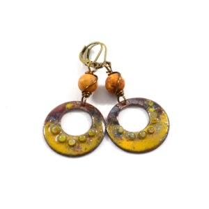 Mustard Orange Enameled Hoop Earrings