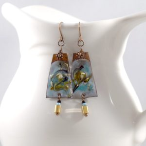 Blue Swirl Earrings With Copper