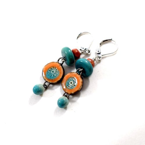 Turquoise and Orange Round Dangle Earrings
