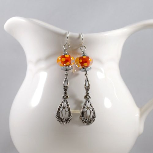 Dotted Orange Lampwork and Silver Earrings