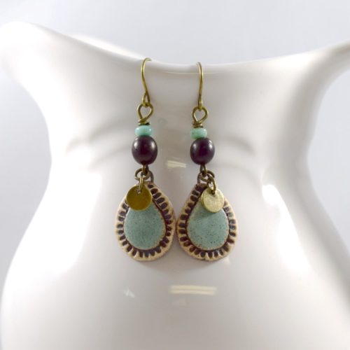 Stoneware Teardrop Turquoise Earrings