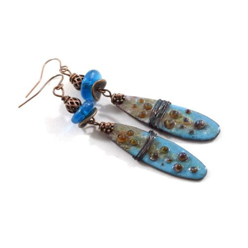 Industrial Style Blue Copper Earrings