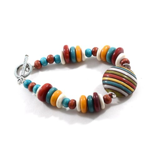 Multi Colored Stripe Chunky Bracelet