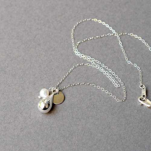 White Pearl Sterling Silver Teardrop Necklace