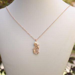 Feather Necklace, Rose Gold Vermeil Necklace