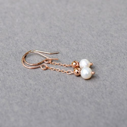 Rose Gold With Pearl Earrings, Pearl Earrings, Rose Gold Filled Earrings
