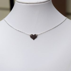 Simple Sterling Silver Heart Choker, Heart Choker, Sterling Silver Choker