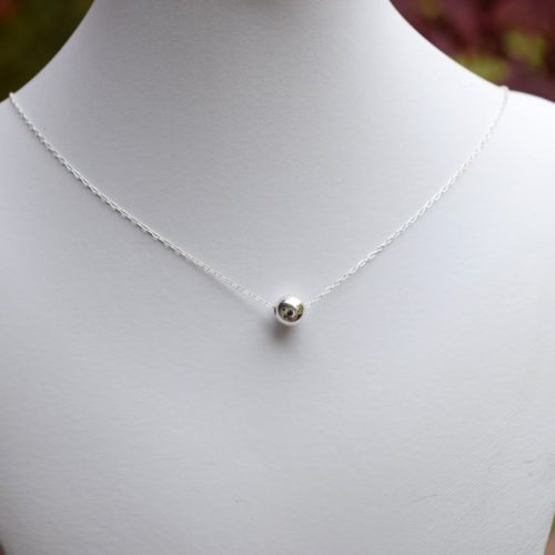 Single Bead Sterling Silver Necklace, Sterling Silver Necklace, Bead Choker