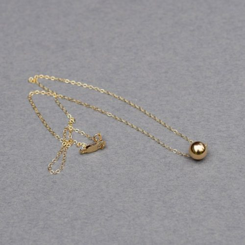 Single Bead 14k Gold Necklace, Gold Necklace, Bead Choker