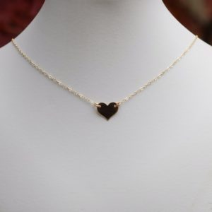 14k Gold Heart Choker, Heart Choker, Gold Filled Choker