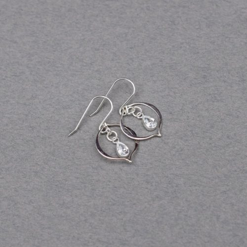 CZ and Sterling Silver Marquis Earrings, Sterling Silver Earrings, Cubic Zirconia