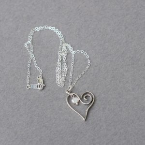 Open Heart Sterling Silver Necklace, Heart Necklace, Freshwater Pearl Necklace, Sterling Silver Necklace