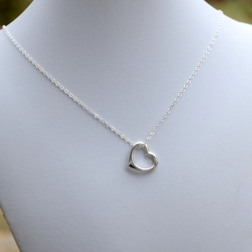 Simple Open Heart Sterling Silver Necklace, Sterling Silver Necklace, Heart Necklace