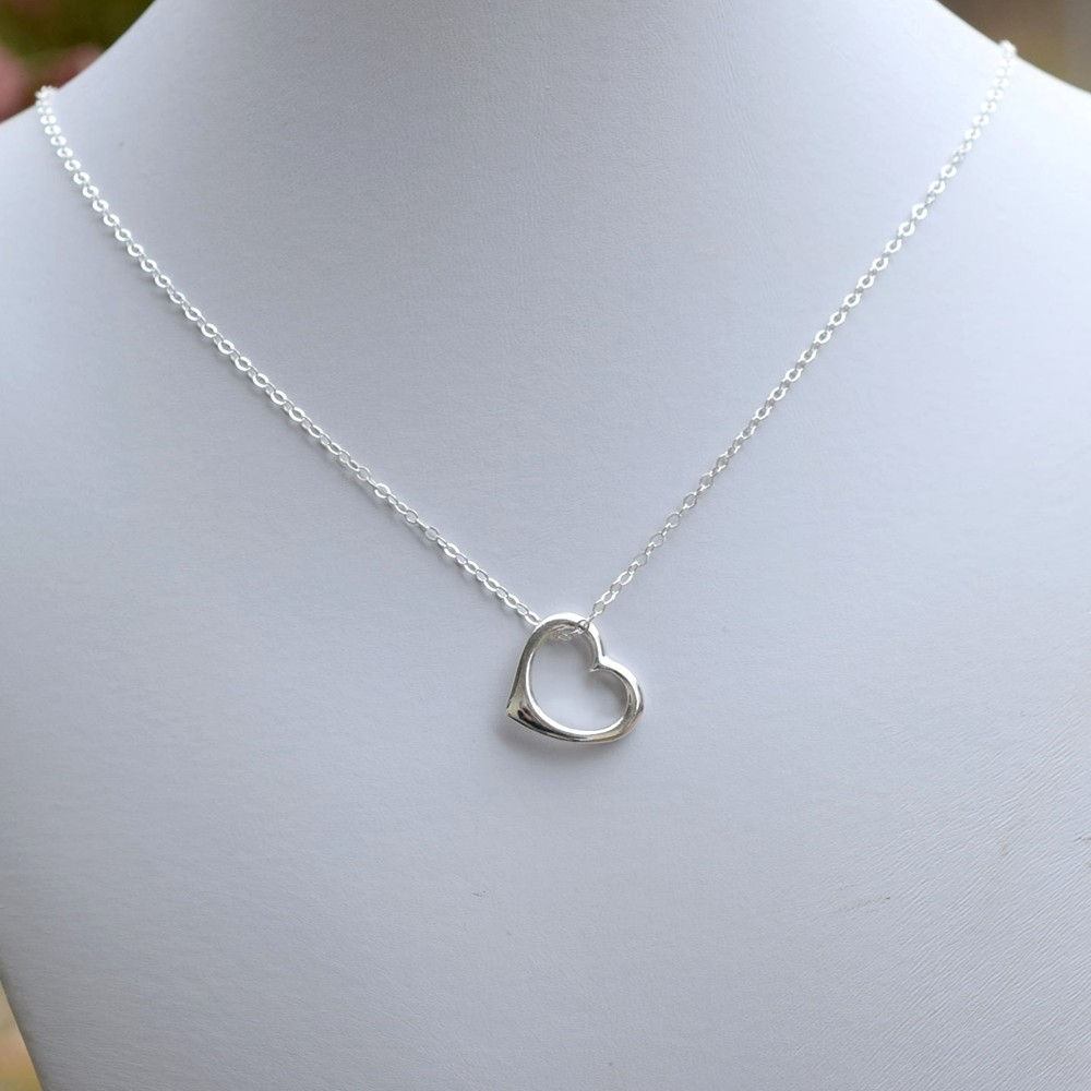 Simple Open Heart Sterling Silver Necklace, Sterling Silver Necklace