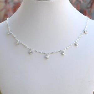 Diamond Shaped Cubic Zirconia Choker, Sterling Silver Choker, Crystal Choker